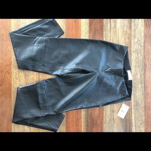 NWT Free People Women's Black Leather Leggings